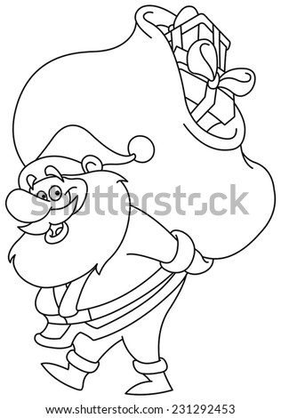 Outlined Santa Claus carrying a big gifts sack on his back. Vector illustration coloring page. - stock vector