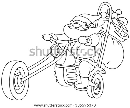 Outlined Santa on a motorcycle. Vector  illustration coloring page. - stock vector