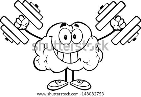 Outlined Smiling Brain Cartoon Character Training With Dumbbells - stock vector