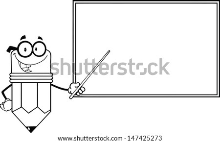 Outlined Smiling Pencil Teacher Character With A Pointer In Front Of Chalkboard - stock vector