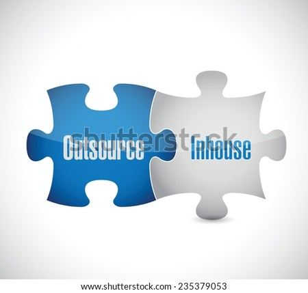 outsource and inhouse puzzle pieces illustration design over a white background - stock vector