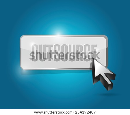 outsource button illustration design over a blue background - stock vector