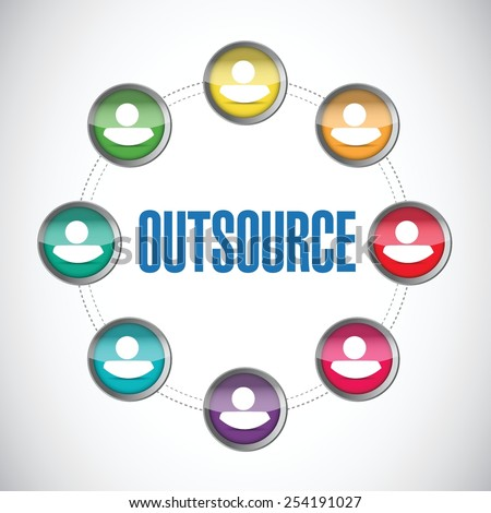outsource people diagram illustration design over a white background - stock vector