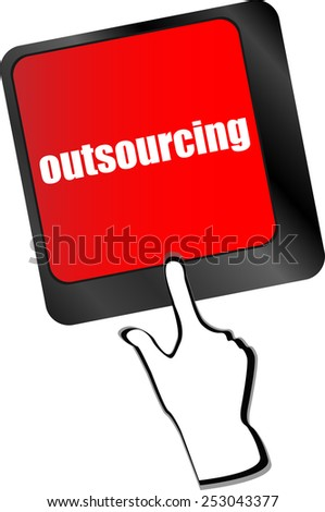 outsourcing button on computer keyboard key - stock vector