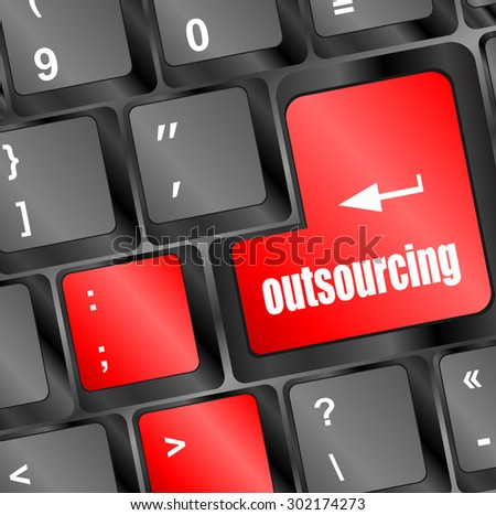 outsourcing button on computer keyboard key vector illustration - stock vector