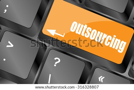 outsourcing button on computer keyboard key, vector illustration - stock vector