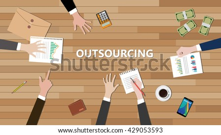 outsourcing team discussing on top of the table together vector graphic illustration - stock vector