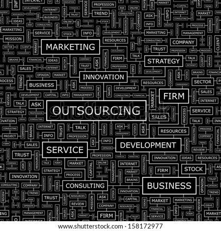 OUTSOURCING. Word cloud illustration. Tag cloud concept collage. Vector text conceptual illustration. Usable for different business design.  - stock vector