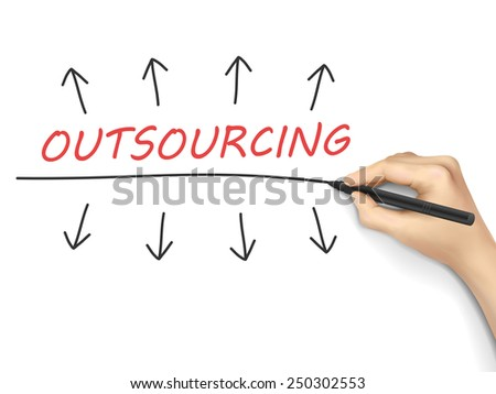 outsourcing word written by hand over white background  - stock vector