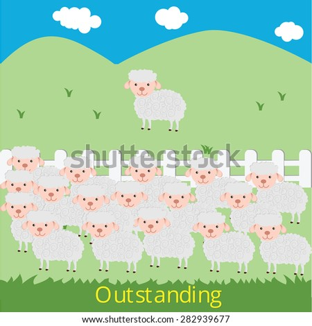 Outstanding sheep go out of the group to freedom ,Vector - stock vector