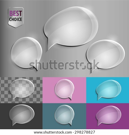 Oval and round glass speech bubble icons with soft shadow on gradient background . Vector illustration EPS 10 for web. - stock vector