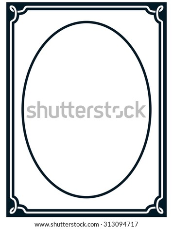 Oval border photo frame deco. Vector simple vertical line signboard - stock vector