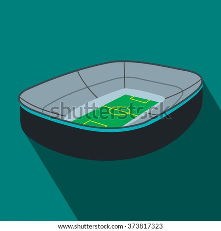 Oval footbal stadium flat icon. Oval stadium with fan stand - stock vector