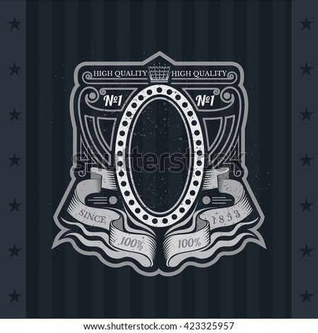 Oval Frame On With Winding Ribbons And Line Pattern. Vintage Label On Blackboard - stock vector