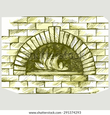 Oven for cooking. Brick fireplace. Vector Image - stock vector