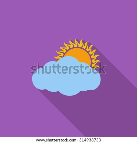 Overcast icon. Flat vector related icon with long shadow for web and mobile applications. It can be used as - logo, pictogram, icon, infographic element. Vector Illustration. - stock vector