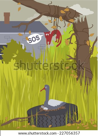 Overgrown backyard with dense weeds, bushes and a broken tree, a cat trapped in wines and a bird nesting in an old tire  - stock vector