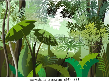 Cartoon Jungle Grass Overgrown plants in the jungle