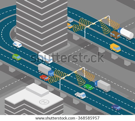 overhead road and highway communication system, vector illustration - stock vector