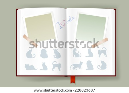 Overhead view on opened photo album with blank photo frames. Cats silhouettes and hand drawn text. Scrapbook template. Copy space. Vector is EPS10. Transparency effects and gradient meshes used. - stock vector