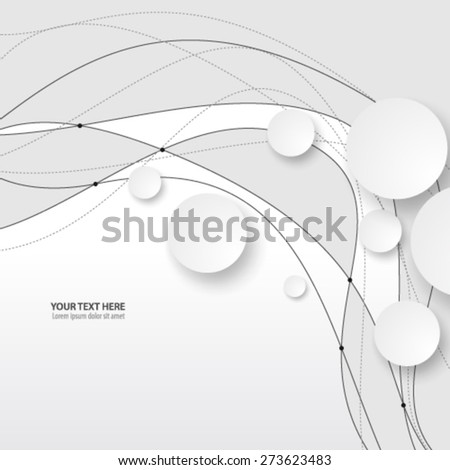 Overlapping Circles and Wave Design Background - stock vector
