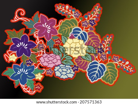 overlapping floral motifs from kimono arranged against a dark background - stock vector