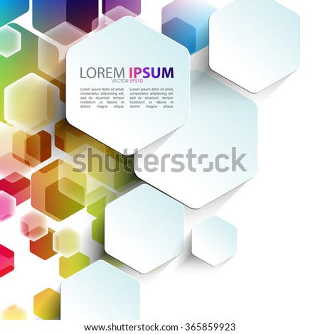 overlapping geometric hexagon shape elements multicolor design - stock vector