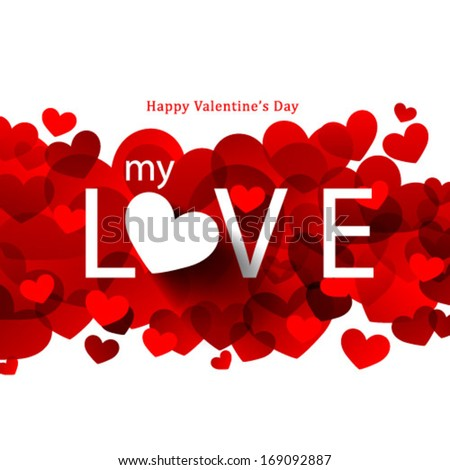 Overlapping Heart Shapes Background - stock vector