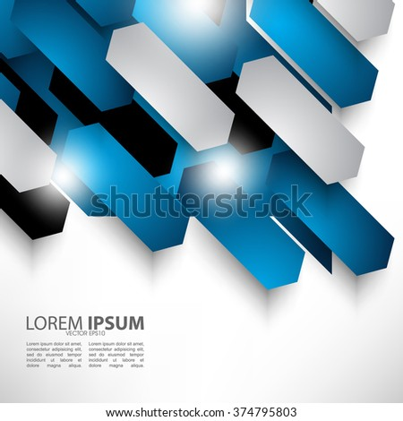 overlapping polygon abstract flat layout design - stock vector