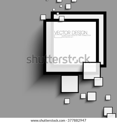 overlapping squares flat black and white design - stock vector