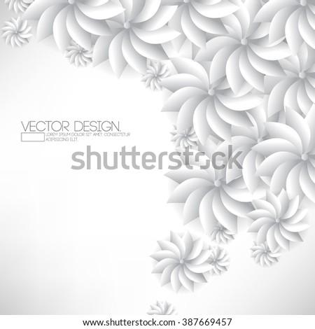 overlapping white chrome flower petal elements background illustration - stock vector