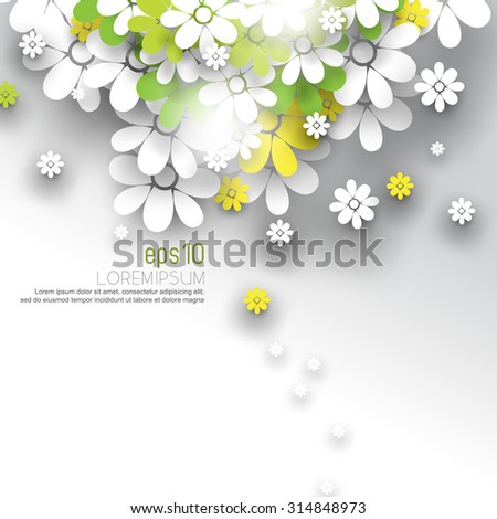overlapping white green and yellow paper flower blossoms nature silhouette leaflet brochure, eps10 vector illustration - stock vector