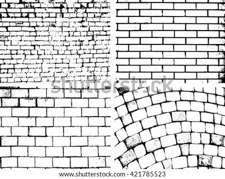 Overlay Brick wall texture for your deesign. Brick Backgrounds set. Brick Overlay Texture collection . Brick Vector Texture pack - stock vector