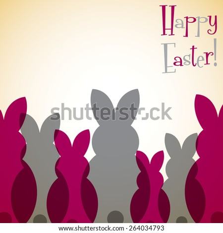 Overlay Easter bunny card in vector format. - stock vector