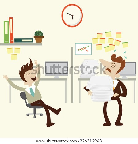 Overload business man with pile stack of paper and folder and another finish work. Vector cartoon design. - stock vector