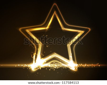 Overlying semitransparent stars with light effects form a golden glowing star frame on dark brown background. Space for your message. - stock vector