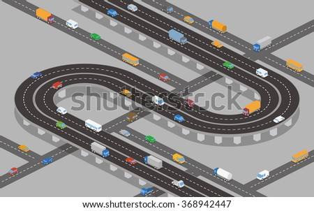 overpass (underpass) roads and various vehicles, vector illustration - stock vector