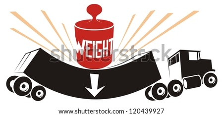 Overweight truck, wrongly declared cargo weight - black and white vector illustration - stock vector