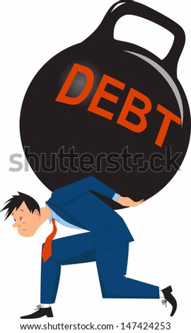 Overwhelming debt. Sad man carrying a big load of debt in a form of giant kettle bell weight - stock vector