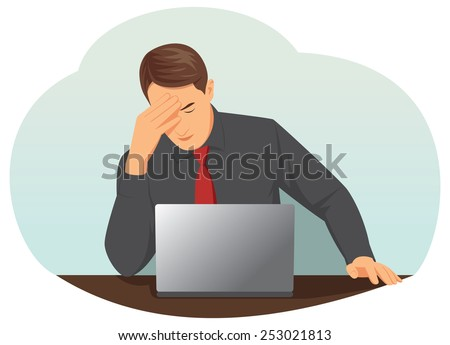 Overworked businessman is under stress with headache - stock vector