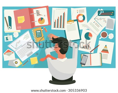 Overworked businessman taking a snap on desk at workplace, in office. Flat design.  - stock vector