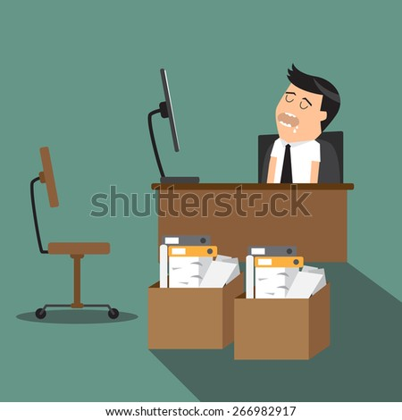 Overworked, tired cartoon businessman sleeping at his desk in office, in front of computer, vector illustration. - stock vector