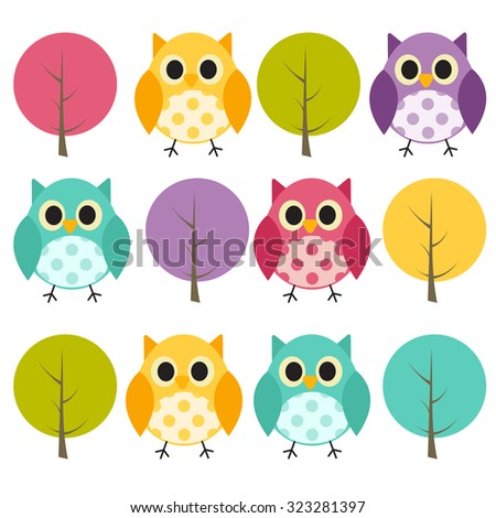 Ow and Treel Pattern Background Vector Illustration EPS10 - stock vector