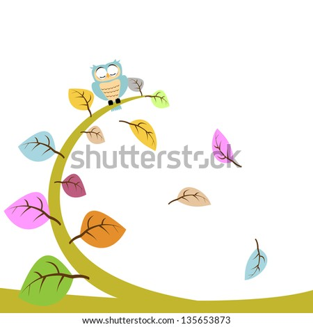 owl and leaf floral - stock vector