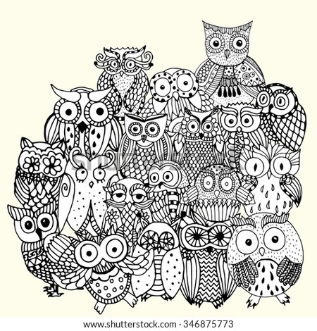 Owl background - multiple owl variations (original drawing vectorized)  - stock vector