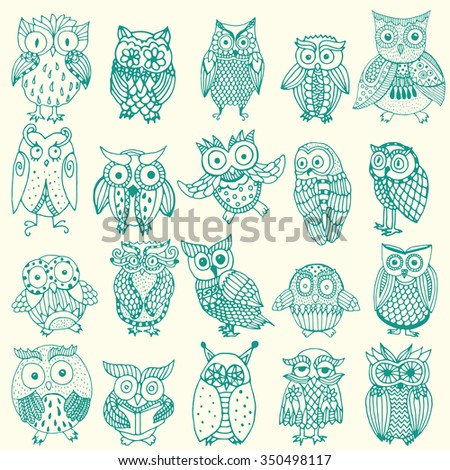 Owl background - multiple owl variations (original drawing vectorized). Owl collection - set of owl variations  - stock vector