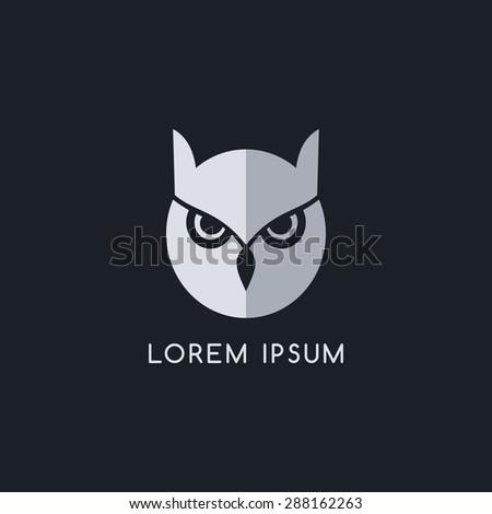 owl bird logo template - stock vector