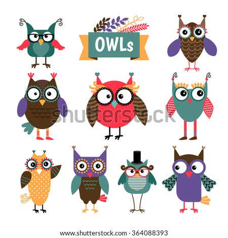 Owl coloured icons set. Different colours cute owls with glasses. Vector illustration - stock vector