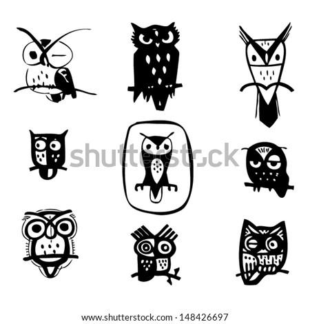 Owl design collection shadow. - stock vector