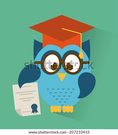 owl design over blue background vector illustration - stock vector